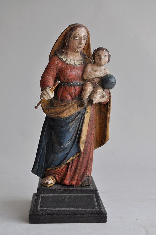 Sculpture - Vierge à l'enfant en bois polychrome- Circa 1800