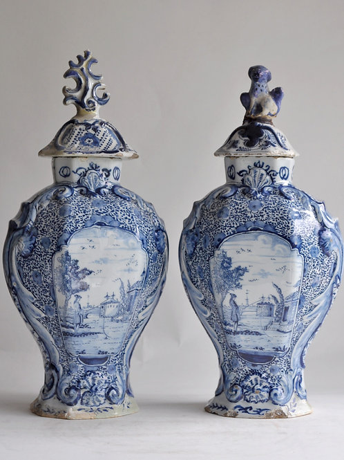 Delft - Pair Of Covered Vases In Faience - XVIIIth
