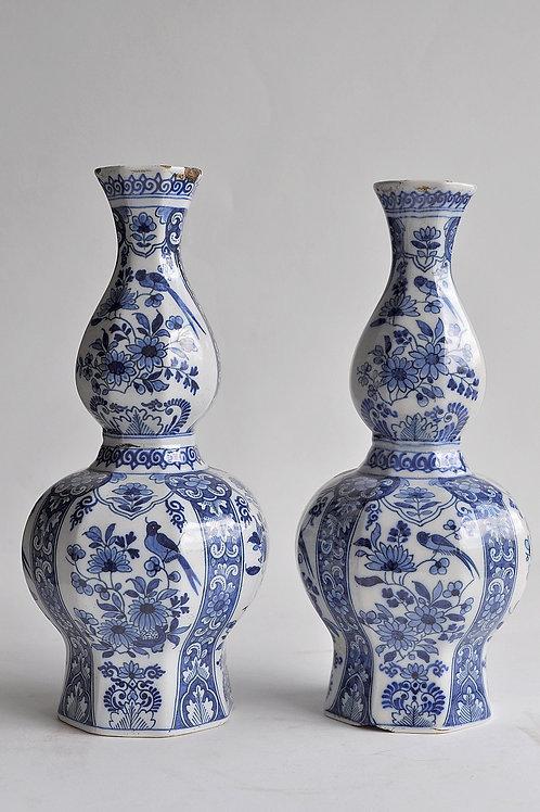 Paire De Vases Gourdes - Delft - Circa 1800
