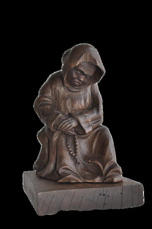 Sculpture Bois - Moine - Début XIXème