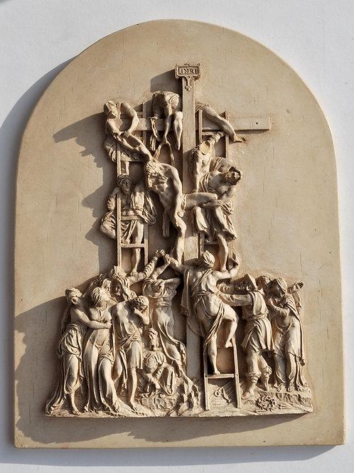 Sculpture, Descente de la croix - Terre à pipe - Première moitié du XIXe siècle