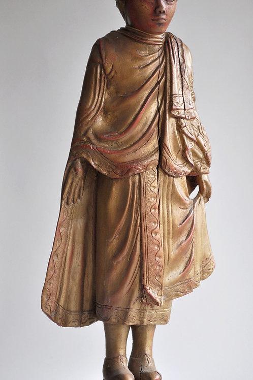 Bouddha en bois laqué et doré - Birmanie - XXème
