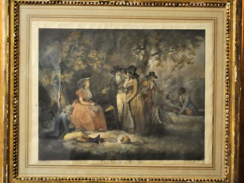 """Estampe couleur - """"The anglers repast"""" - XIXème"""