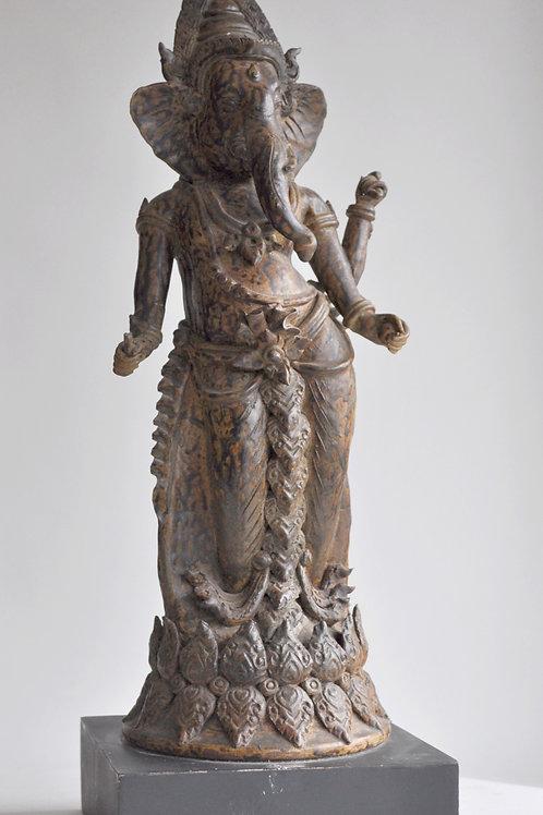 Inde - Sculpture Ganesh à 3 Bras - Fin 19ème Siècle