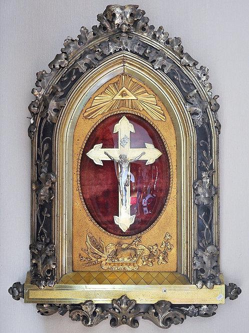 Cadre religieux - 79 cm - Bois et stuc doré - XIXe siècle