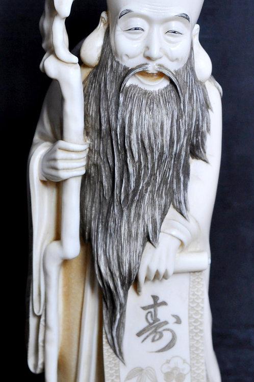Japon - Personnage en ivoire sculpté - Signé - Fin XIXème