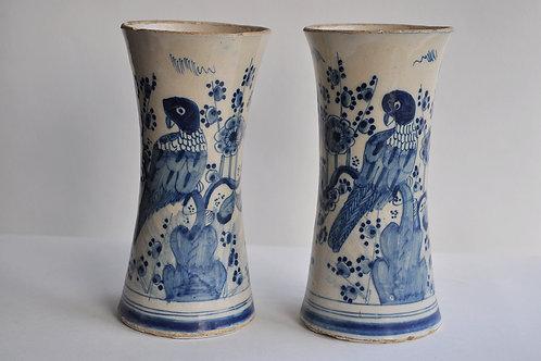 Paire De Vases Cornets - Céramique - Delft - XVIIIème
