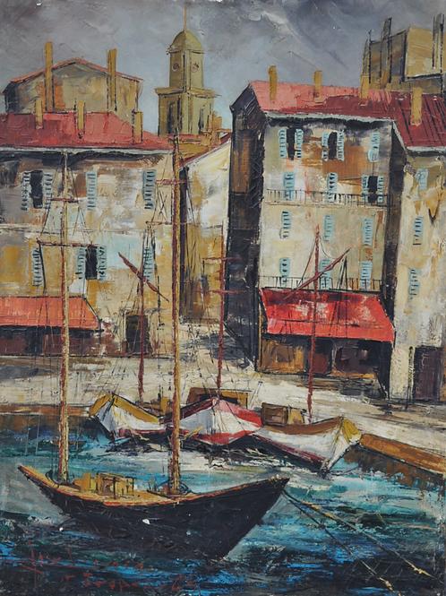 Virgilio Albiac - Huile sur toile  - Port de St Tropez - XXème