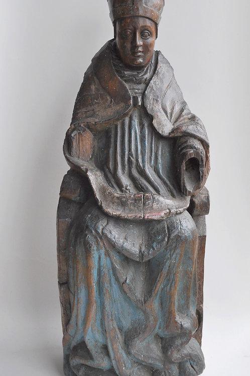 Sculpture - Syatue en bois - Saint Evêque - Circa 1500