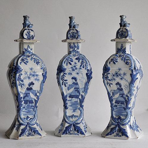 Delft - Three covered earthenware vases - XVIIIth century