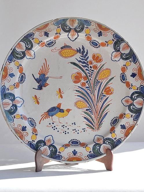 Plat En Faïence De Delft - Polychrome - XVIIème Siècle