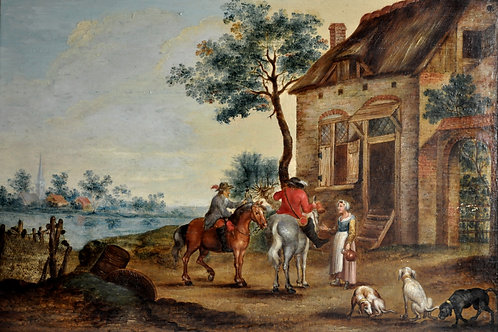 Tableau Huile Sur Panneau - Ecole Hollandaise - Circa 1800