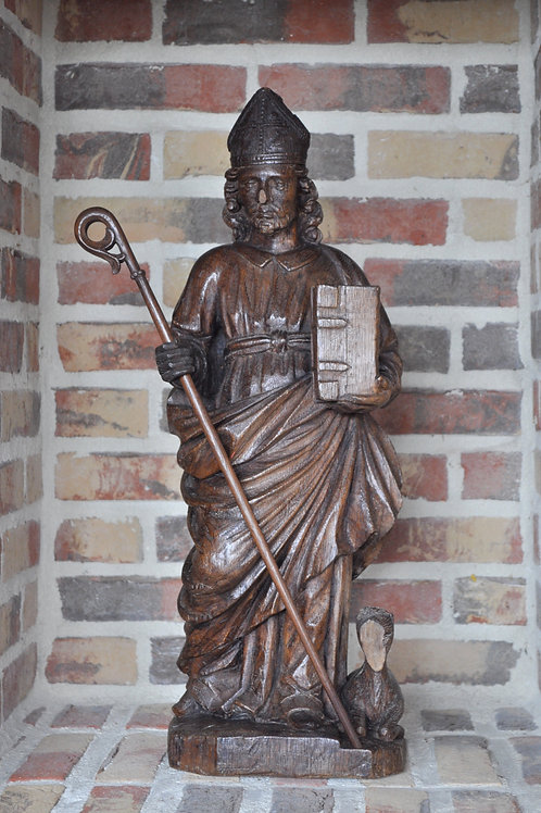 Sculpture - Saint Bishop - Flemish School - XVIIIth Century