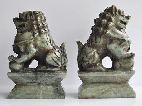 Chine - Paire de sculptures en jade néphrite -  fin XIXème