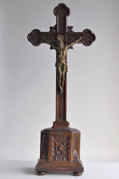 Crucifix en chêne - Reliques - Christ en Bronze - 1865