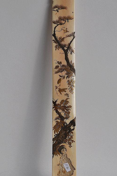 Japon - Marque page en ivoire sculpté - Shibayama - Période Meiji - 19ème