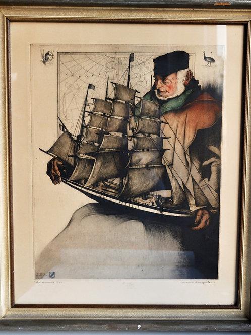 LANGASKEN (1884-1946) - Eau Forte signée - XXème
