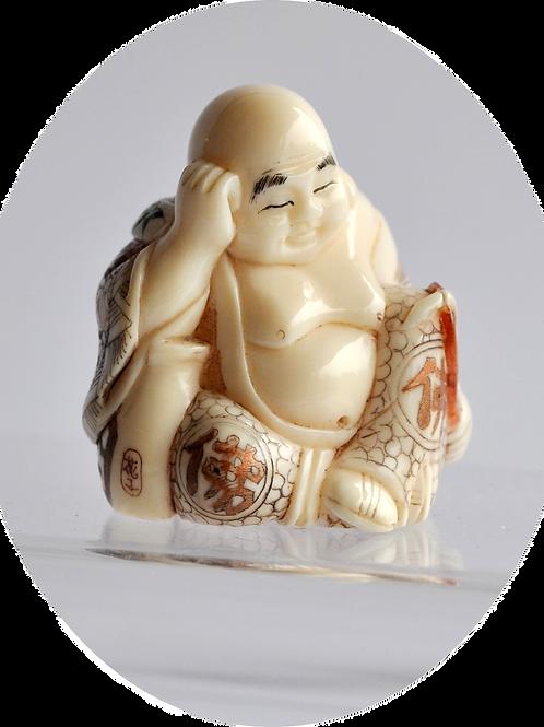 Japon - Petit Okimono en ivoire - Mi XXème - signé