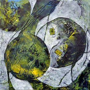 Abstract Mixed Media Collage Painting wi