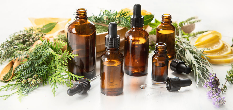 Bottles of essential oils. Herbal medici