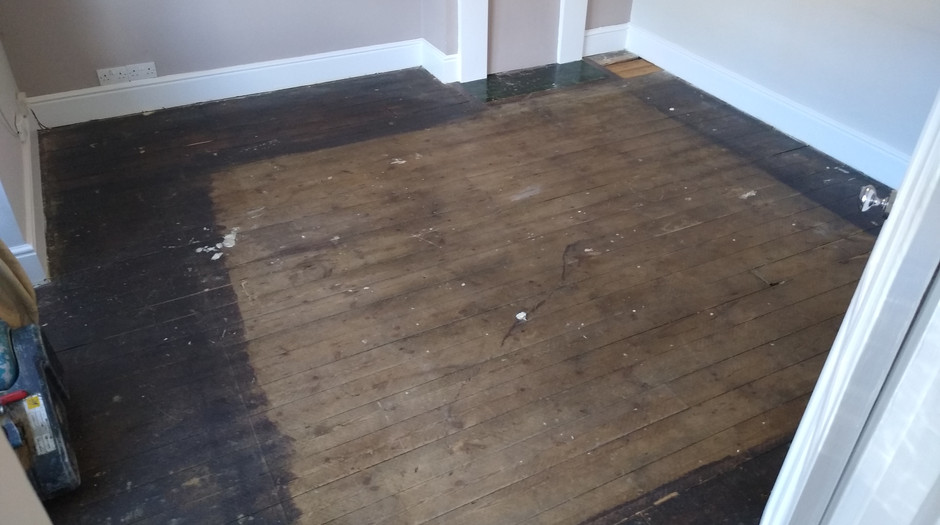 Hitchin Hertfordshire.  Pine floor boards beforesanding.