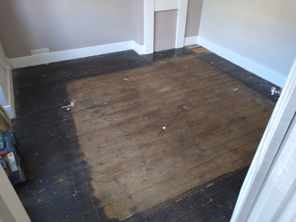 Hitchin. Pine floor boards before