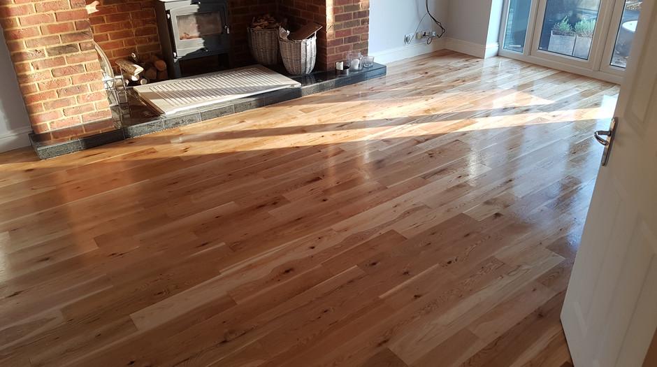 Engineered oak strip. After sanding/applying hard wax oil. Walkern hertfordshire.