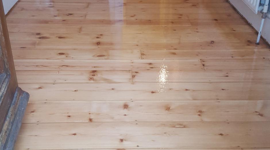 Pine floor boards. After sanding/applying finish