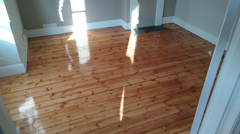 Hitchin Hertfordshire.  Pine floor boards after sanding and lacquering