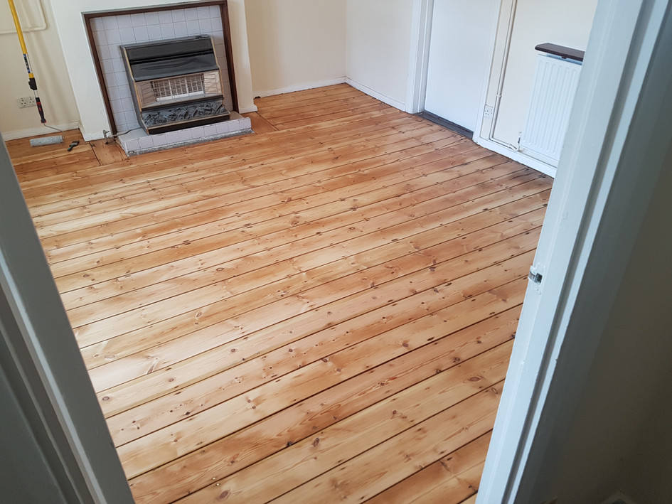 Pine floor boards. After sanding/applying finish Hitchin hertfordshire