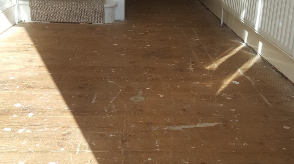 Pine floor boards. Before sanding