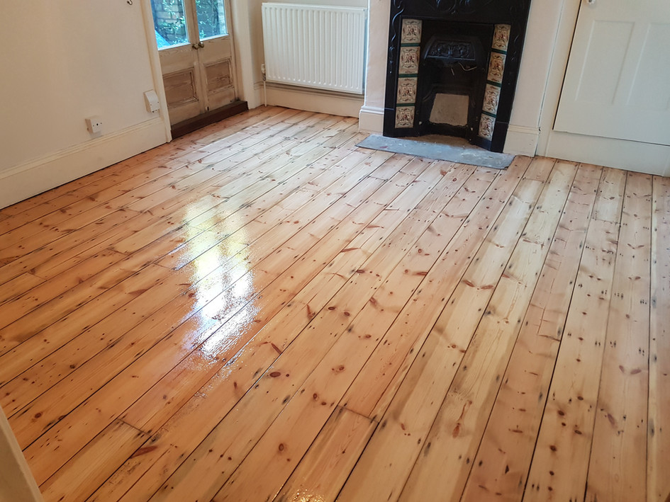 Pine floor boards. After sanding/applying finish