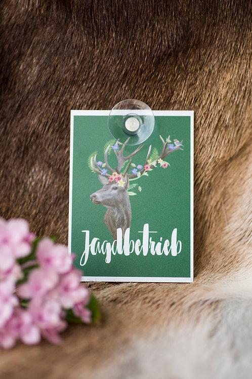 JAGDBETRIEB Autoschild mit Hirsch aus Makrolon