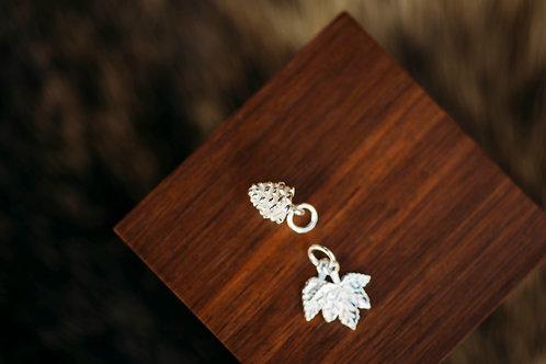 Silberanhänger Ahorn und Tannenzapfen
