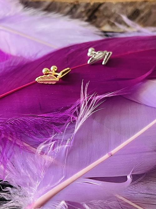 Jagd-Liebe Ohrringe mit Federmotiv gold & silber