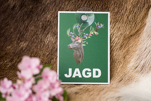 JAGD Autoschild mit Hirsch aus Makrolon