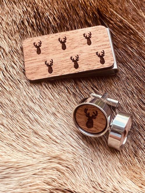Jagd-Liebe *Holz* Manschettenknöpfe & Geldklammer