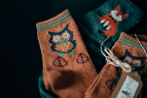 Jagd-Liebe Damen Socken Fuchs, Eule