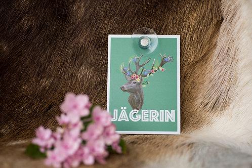JÄGERIN Autoschild mit Hirsch aus Makrolon