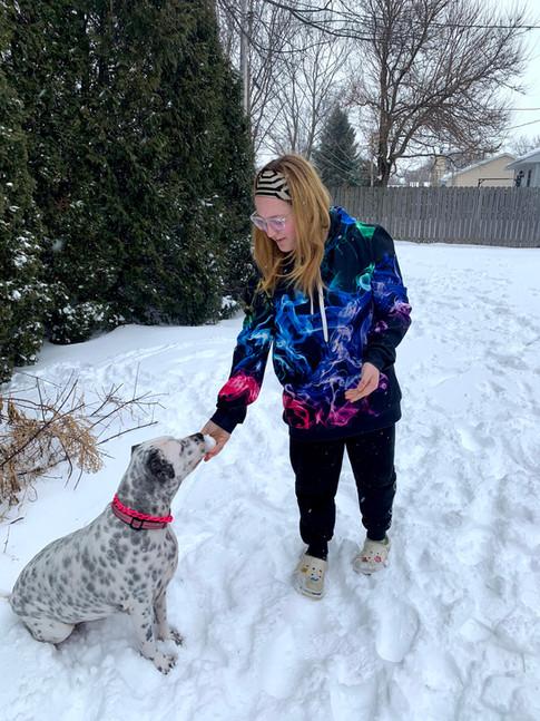 Scout wont eat the snow