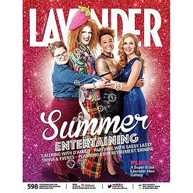 "Cover of Lavender magazine's ""Summer Entertaining"" edition."