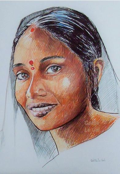 Jeune fille Indienne -Dessin au feutre-4