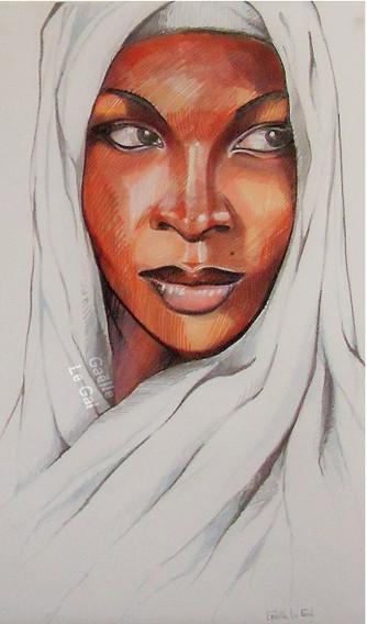Portrait de Femme Nomade Dessin au feutr
