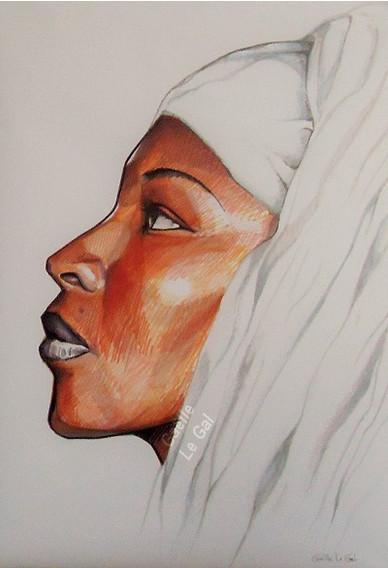 Portrait Femme Nomade 1 -Dessin au feutr