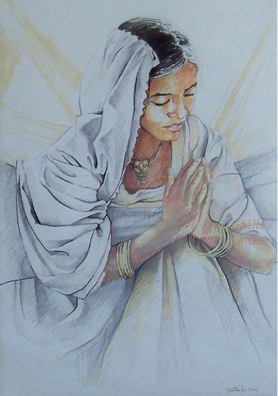 Jeune_fille_Indienne_en_prière-Dessin_au
