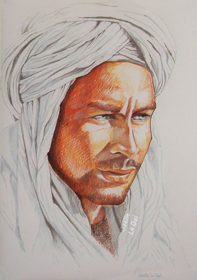Portrait Nomade Touareg -Dessin crayon f