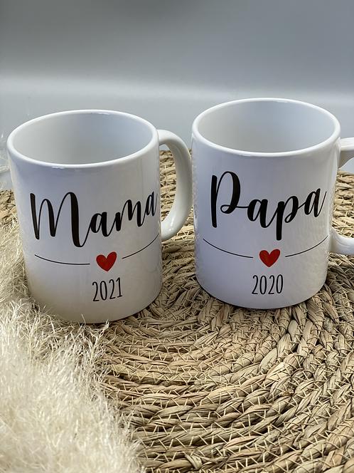 Tasse Papa/Mama/Tante/Onkel + Jahreszahl