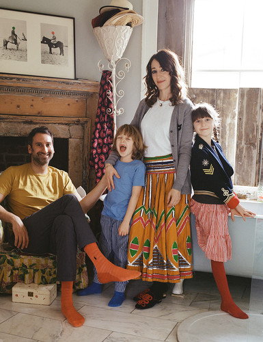 Artsit couple Idris Khan and Annie Morris, and their children Jago and Maude, for Elle India