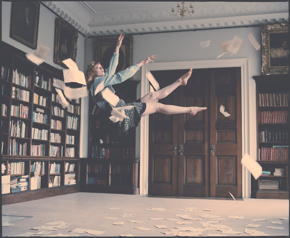 Emily Falling in the Library