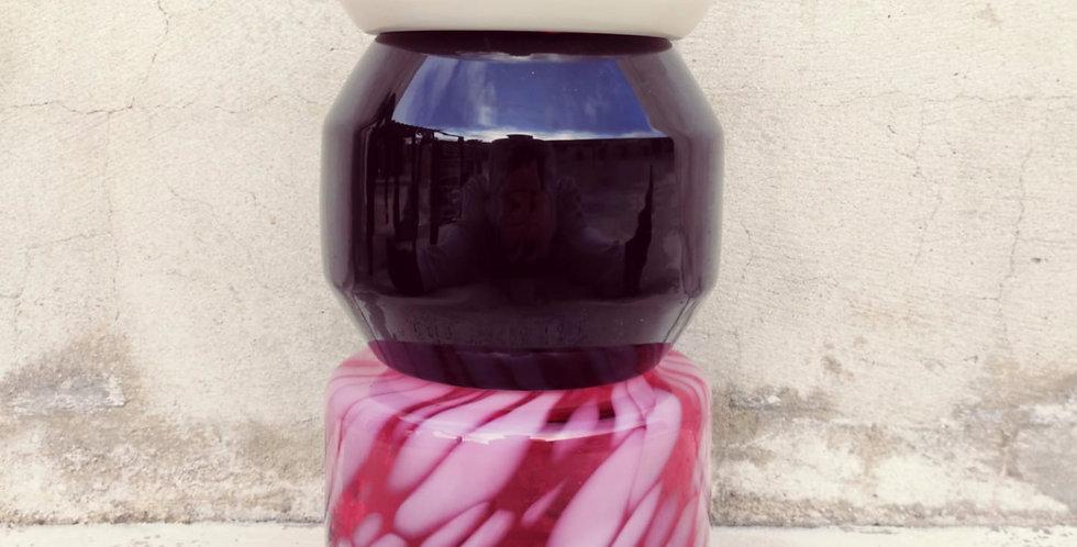 Pink flamingo vase Totem #2 - 2 rings, 1 white ananas , 1 black polygonal